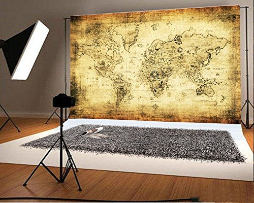 (Laeacco 7x5ft Vinyl Photography Backgrounds Retro World Map Art Wall Pattern Photo Backdrop Studio Props Memorial Travel Historical Personal Photo Portraits Background)
