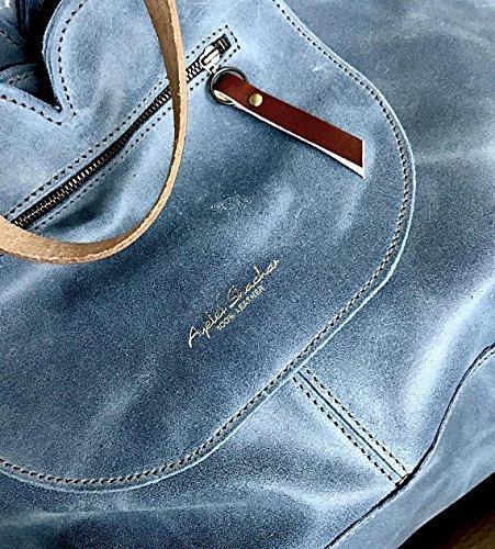 - Blue Handcrafted Leather Handbag/Shoulder Bag for everyday use