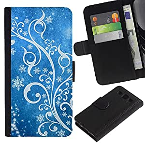 APlus Cases // Samsung Galaxy S3 III I9300 // Hielo Invierno Nieve blanco azul floral // Cuero PU Delgado caso Billetera cubierta Shell Armor Funda Case Cover Wallet Credit Card
