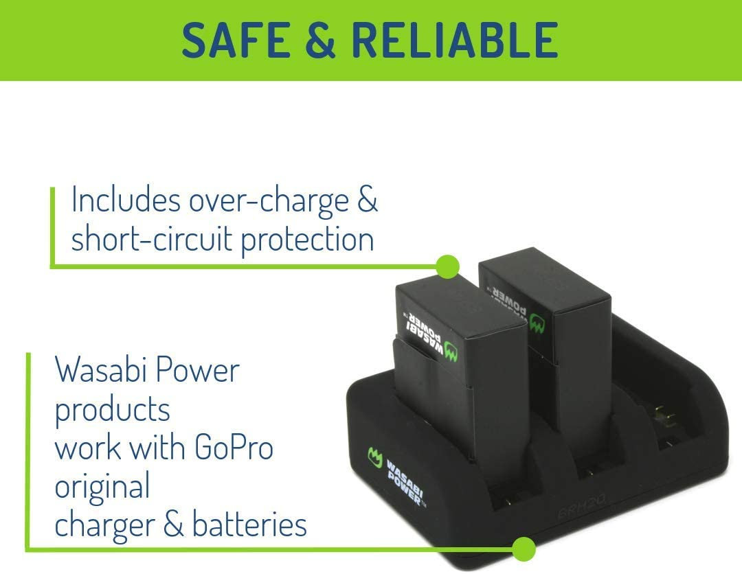 Wasabi Power Battery HERO3+ 2-Pack, 1280mAh and Triple USB Charger for GoPro HERO3