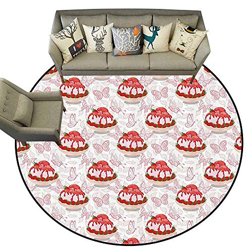 Round Rugs for BedroomPink Sweet Dessert Pattern Ice Cream with Strawberry Sauce in Bowl and Butterflies Living Dining Room Bedroom Hallway Office Carpet D67 Pink White and Red