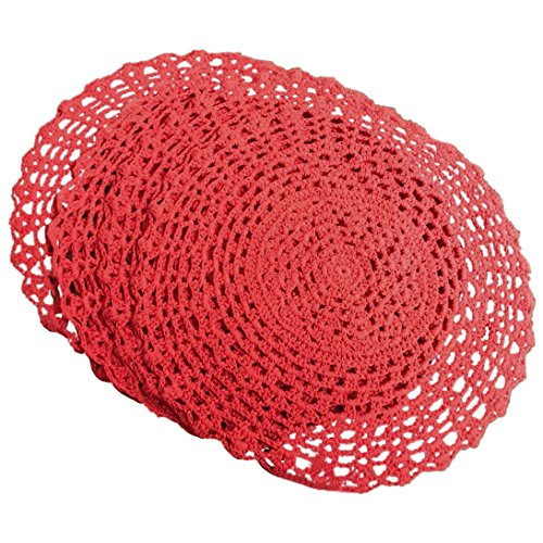 (Ustide 4pcs Round Handmade Crochet Placemats Red Cotton Table Doilies)