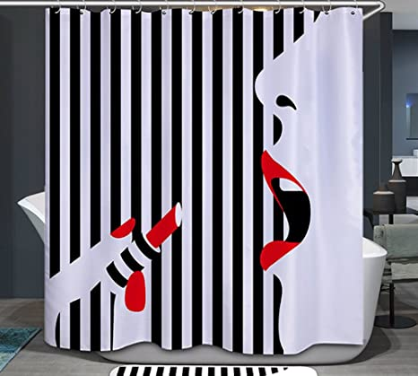 Amazon Lipstick Red Lips Nails Fabric Shower Curtain 70x70