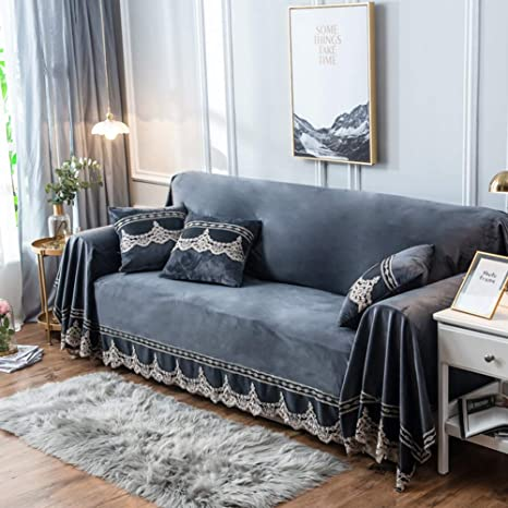Plush sofa slipcover,1-piece vintage lace suede couch cover anti-slip  furniture protector for 1 2 3 4 cushions sofas-grey 200x380cm(79x150inch)