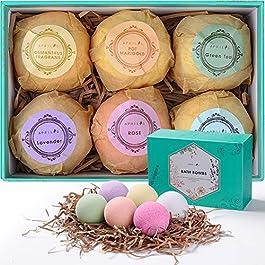 Aprilis Bath Bombs Gift Set, Organic & Natural Essential Oil Bath Bombs for Dry Skin Moisturizing, Handmade Fizzy Spa…