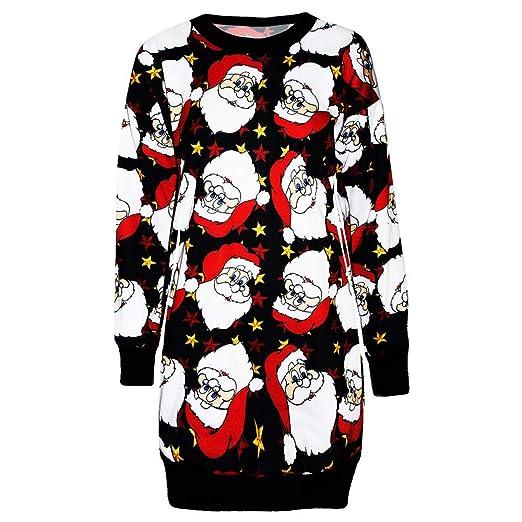 b729e89670f FEDULK Christmas Womens Dress Santa Claus Print Ugly Sweater Xmas Pullover  Mini Dress(Black
