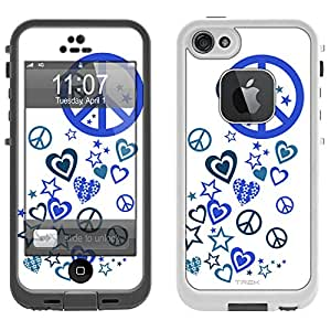 Skin Decal for LifeProof Apple iPhone 5 Case - Blue Love Peace Stars on White