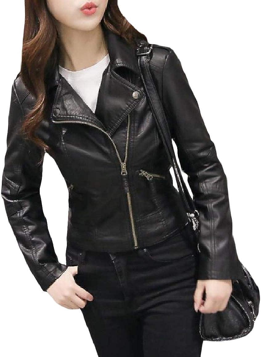 Romantc Womens Plus-Size Skinny Curvy Lapel Mini Zip Pocket PU Jakcet