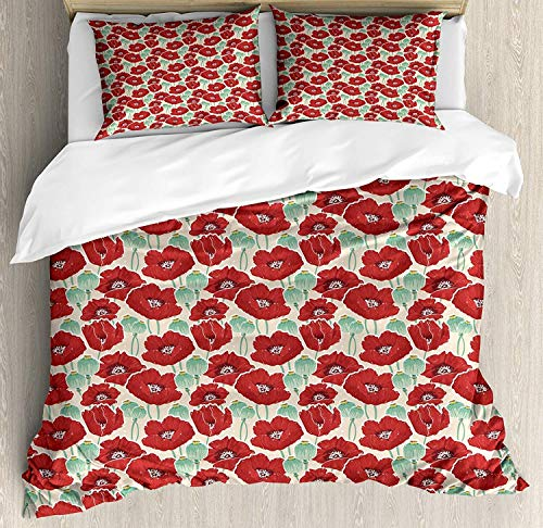 SINOVAL Poppy Queen Size Duvet Cover Set, Spring Garden Pattern with Red Blossoms Seed Capsules and Little Dots,Fashion 3 Piece Bedding Set with 2 Pillow Shams, Mint Green Ruby and Beige