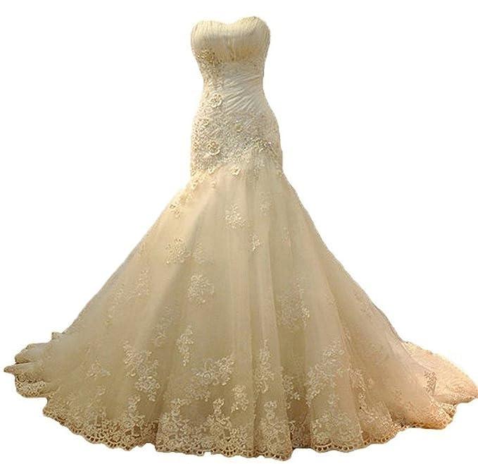 Ebelz Novia amor Vestido del tren vestido de novia de encaje para mujer de la sirena