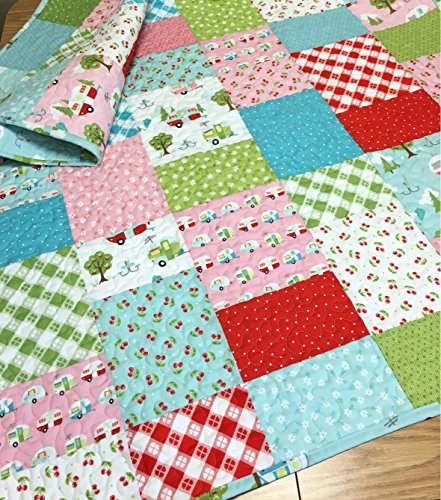 Baby Girl Quilt Campers Picnic Glamper-Licious Nursery Crib Bedding by Carlene Westberg Designs