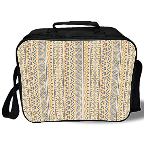 Striped 3D Print Insulated Lunch Bag,Prehistoric Stripes Native American Form Indie Ritual Hunting Aboriginal Wild Art,for Work/School/Picnic,Yellow Blue