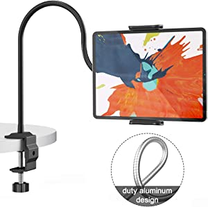 "Klsniur Gooseneck Tablet Holder, Universal Tablet Stand 360 Flexible Lazy Bracket Clamp Long Arms Mount Compatible with iPad Air Pro Mini, Samsung Tab, Nintendo Switch and Other 4.7""-10.5"" Tablets"
