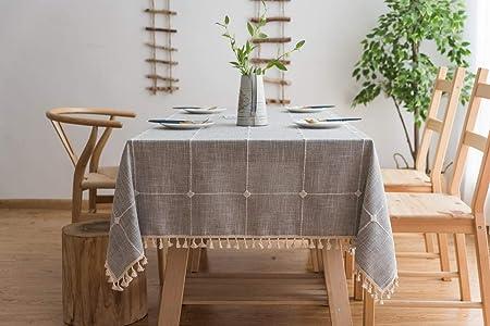 Tischdecken Wasserabweisend mit Quaste Edge Tischw/äsche f/ür Home K/üche Dekoration Vailge Tischdecke Rechteckige Tischtuch Leinendecke Leinen Tischdecke Abwaschbar Khaki, 140 x 140 cm