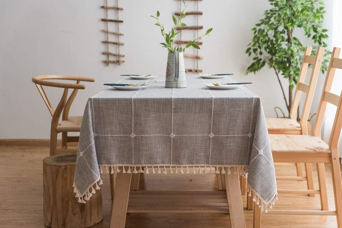 Lanqinglv Quaste Tischdecke 140x220 Beige Kariert Baumwolle und Leinen Tischtuch Rechteck Couchtisch Tischdecke Gartentischdecke Abwaschbar Küchentischabdeckung für Speisetisch (140x220,Beige) B07MM4WVLL Tischdecken