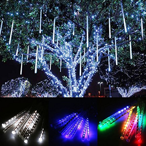 OWIKAR Meteor Shower String Lights Waterproof Trees Decorative Light Tube Falling Rain Fairy Lights 11.8inch 8 Tubes 144 LEDs Plug-in For Wedding Party Festival Xmas Decoration - Adler Canada