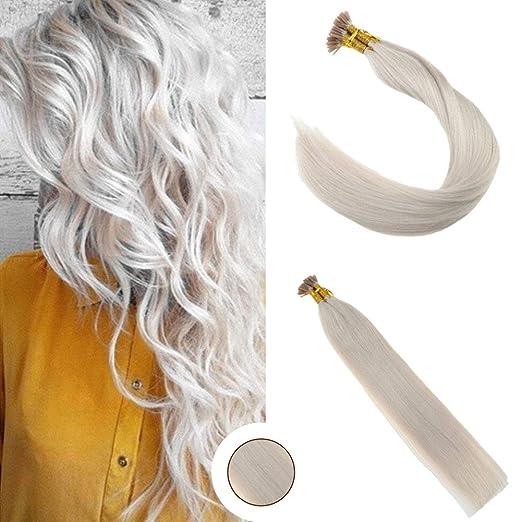 Ugeat 18inch I Tip Human Hair Extensions 60 Light Blonde Keratin