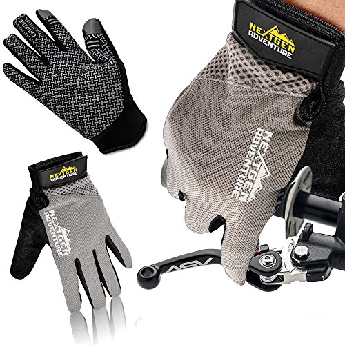 Mountain Bike Touchscreen Cycling Gloves - Full Finger Mtn Biking Glove, Breathable with Screen Wiping Pad, iPhone or Android Touchscreeen Capable, Bike Riding Training Gloves for Men Women (Medium) ()