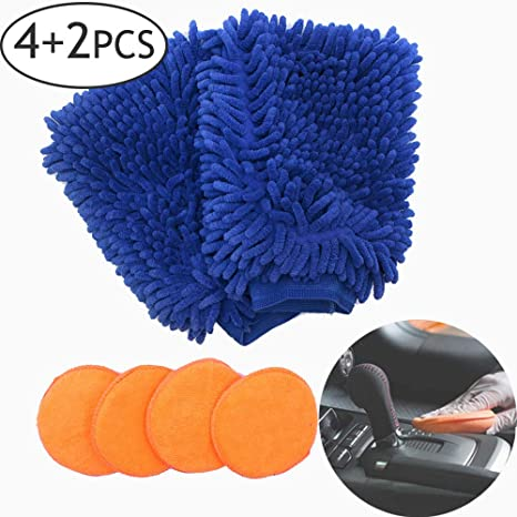 DAILY TREASURES Car Wash Mitts 2 Pack Extra Large Size Premium Chenille Microfiber Wash Mitt Glove with 4pcs Microfiber Applicator Pads for Car and Home Use