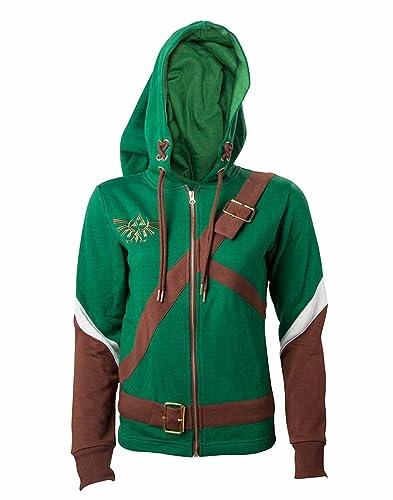 The Legend of Zelda Cosplay Zip-Hoodie Chaqueta con capucha Mujer verde/marrón