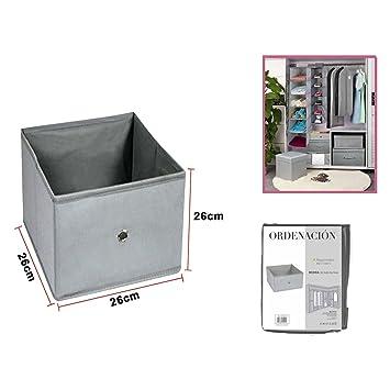 Caja Organizador de Ropa, Toallas, sabanas, Zapatos etc... Color Gris. Caja Almacenamiento Resistente. Tamaño 26x26x26cm: Amazon.es: Hogar
