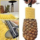 Adorox 2 Piece Stainless Steel Pineapple Fruit Core Slicer De-Corer Peeler Stem Remover Cutter Kitchen Tool (2)