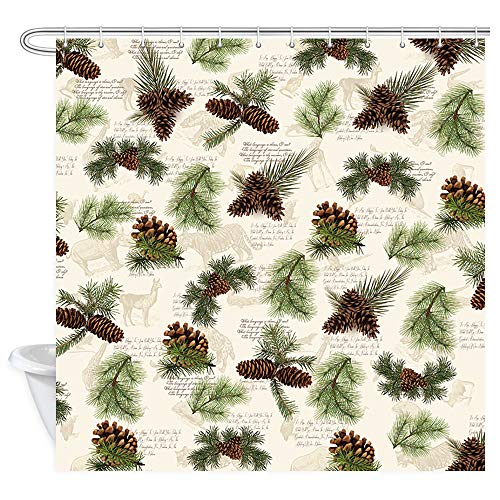 DYNH Pine Cone Shower Curtain, Christmas Tree Green Branches Tree and Pine Cone in Vintage Animals Wallpaper Bath Curtains, Fabric Shower Curtain for Bathroom 12PCS Shower Hooks, 69X70 -