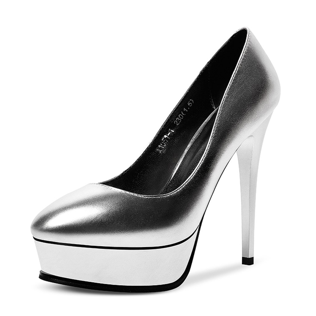 JE JE JE schuhe Stiletto High Heels Wasserdichte Plateauschuhe Flacher Mund Dicke Untere Runde Schuhe (Farbe : Silber, Größe : 38) Silber 2a99ff