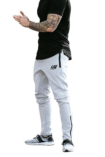b3d647cc189c9 Aspire Wear Pantalon de gymnastique pour hommes - Pantalon de jogging  fitness gris slim Fit Fitness