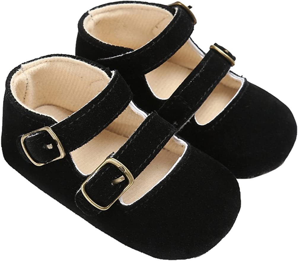 Baby Girls Double Buckle Straps Suede Mary Jane Soft Sole Princess Dress Shoes
