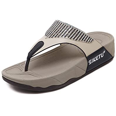 e5286a0eefc78d Minetom Sandalen Damen Zehentrenner Schuhe Flip-Flops Sommer Bequeme Frauen  Übergröße Offene Strand Casual Shoes
