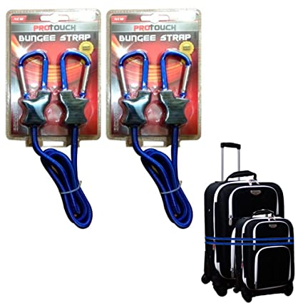 f6fefc20bd07 2 Pc Bungee Strap Cord Tie Down Tarp Luggage Aluminum Carabiner Secure Bags  3 Ft