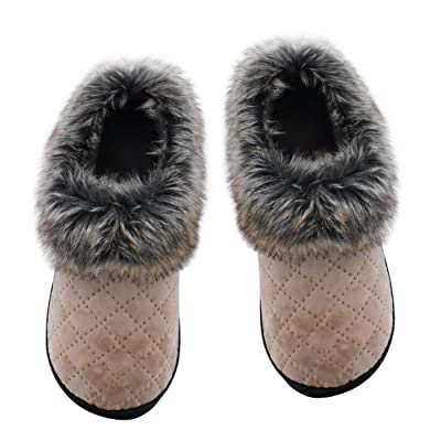 DL Furry-Womens-Slippers-Memory-Foam Indoor Outdoor, Fluffy Slip-on Slippers for Women with Arch Support, Anti-Skid Sole Women House Slippers Faux Fur Collar | Slippers