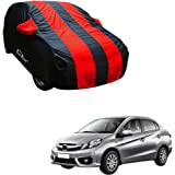 Autofurnish Red Stripe Car Body Cover Compatible with Honda Amaze - Arc Blue