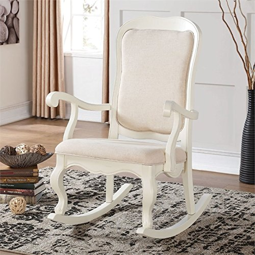 Style Traditional Chair Rocking - Acme Furniture 59388 Sharan Rocking Chair, Antique White