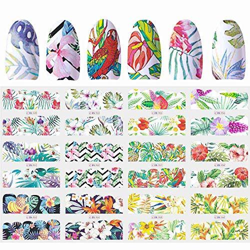- 12 Designs Nail Polish Sticker Water Decal Flamingo Flowers Harajuku Owl Transfer Decoration Manicure Tattoo Tips JIBN913-984-1 BN949-960