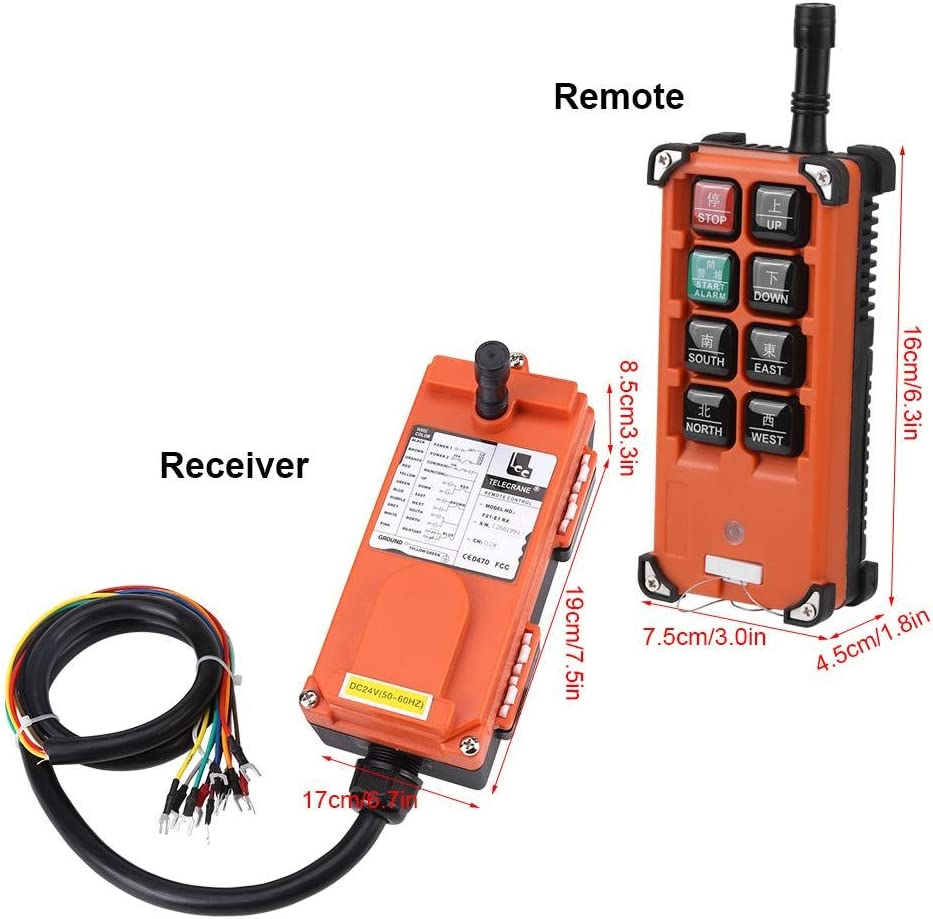 Trasmettitore IP65 Paranco elettrico controllo remoto DC 24V Telecomando Wireless Industriale Interruttore cavo da 1 metro ricevitore