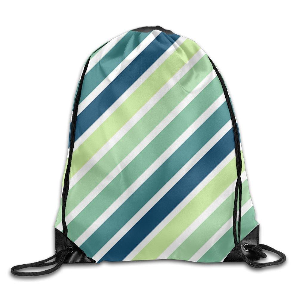 VIMUCIS Green Blue Stripe Drawstring Backpack Rucksack Shoulder Bags Training Gym Sack For Man And Women