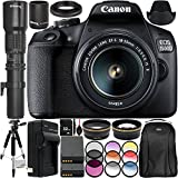 "Canon EOS 1500D/Rebel T7 w/ 18-55mm Lens, 500mm Telephoto Lens 16pc Accessory Bundle – Includes 32GB SD Memory Card + Deluxe Backpack + 57"" Tripod + More - International Version (No Warranty)"