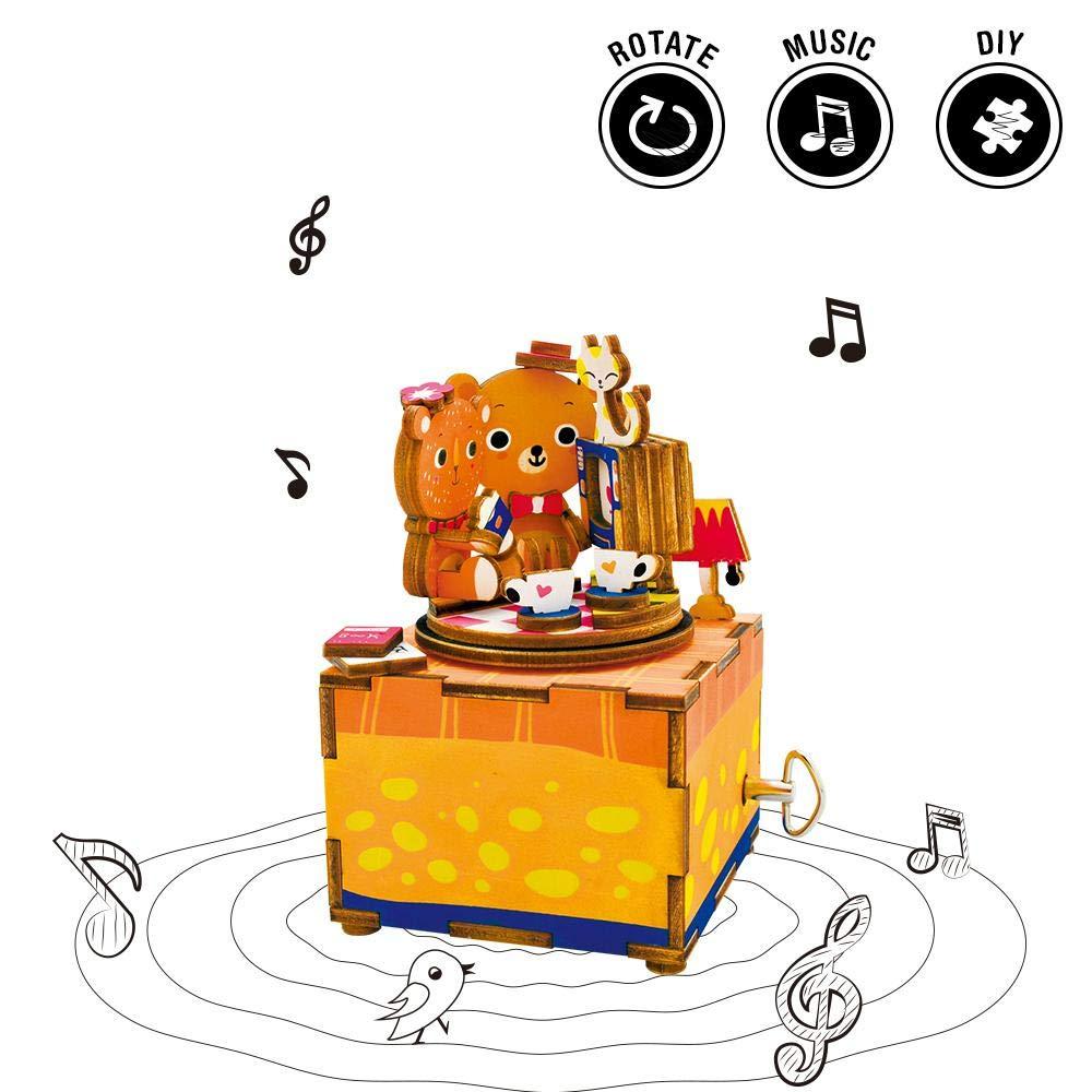 DIY Music Box decorazione artigianato rossoating Music Box orso storia d'amore decorazione casa regalo creativo