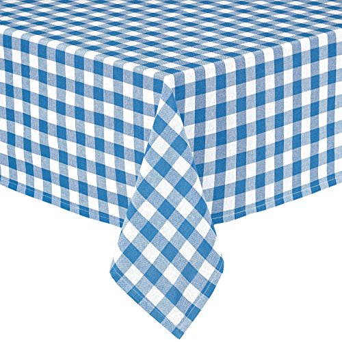 Lintex Buffalo Gingham Check Indoor/Outdoor Casual Cotton Tablecloth, Buffalo Plaid 100% Cotton Weave Kitchen, Patio and Dining Room Tablecloth, 52 x 52 Square, Blue ()
