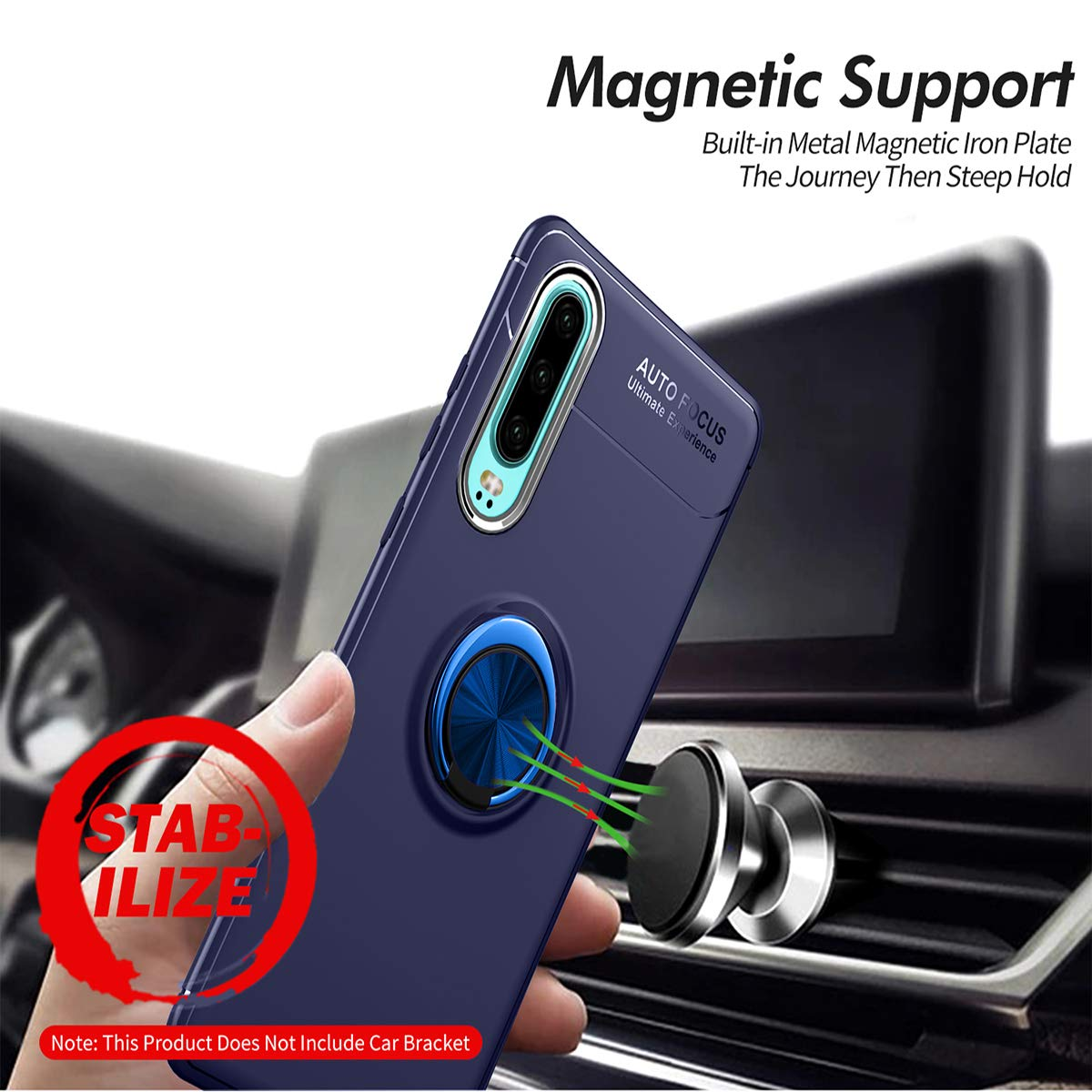 Newseego Compatible with Huawei P30 Case,360/° Adjustable Ring Stand,Frosting Thin Soft Protective and Finger Ring Holder Kickstand Fit Magnetic Car Mount for Huawei P30-Blue+Blue
