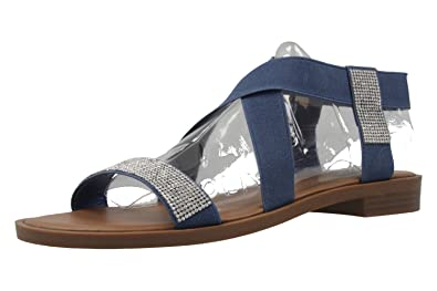 Fitters Footwear Jill - Damen Sandalen - Blau Schuhe in Übergrößen, Größe:44