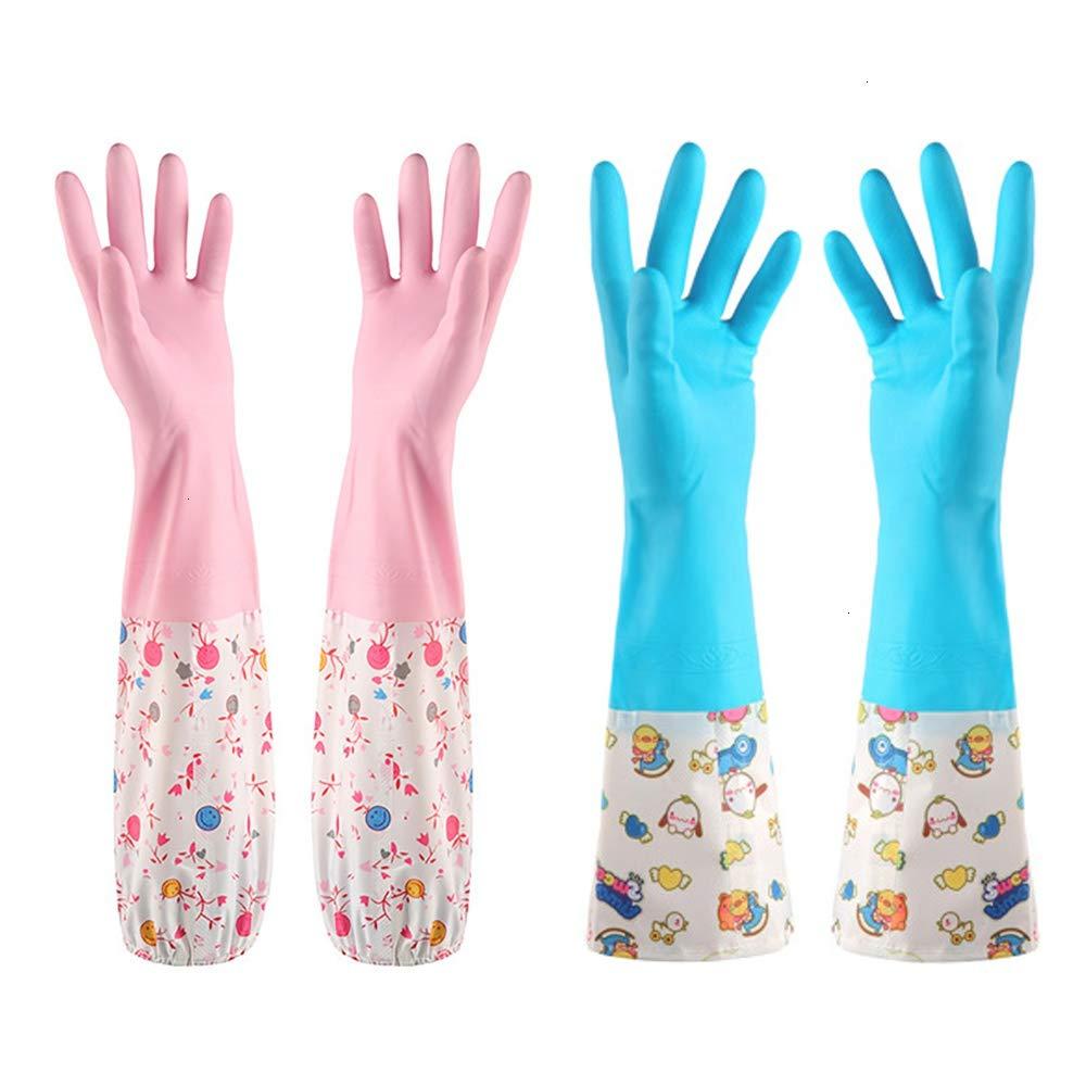 クリーニング手袋 2組 再利用可能な長い手錠 水洗い クリーニングゴム手袋 フロック裏地 食器洗い用手袋 滑り止め 防水キッチン手袋 ブルーとピンク B07KZWDHMD