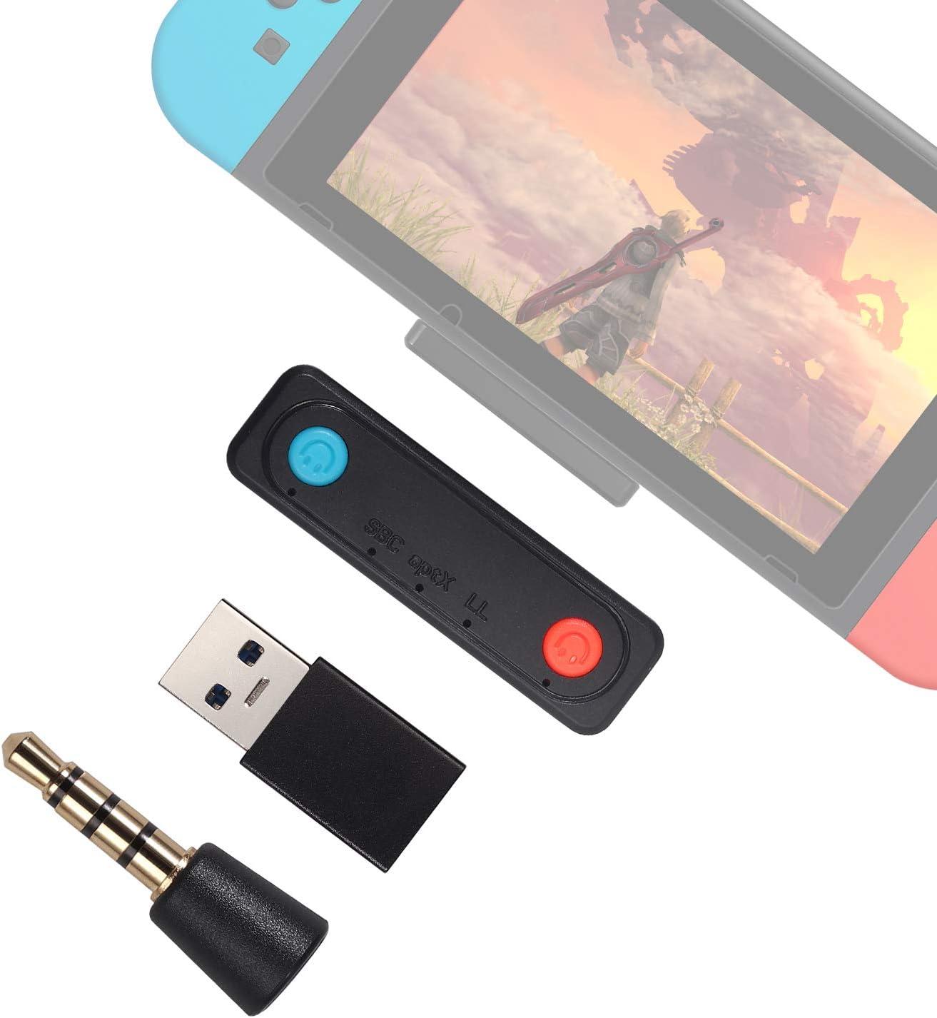 Transmisor Bluetooth apt-X USB Type-C Adaptador de Audio Bluetooth 5.0 Baja Latencia con Conector USB-C a USB-A y Micrófono Externo para PS4 Switch/Switch Lite TV PC Android Móviles Amplificador