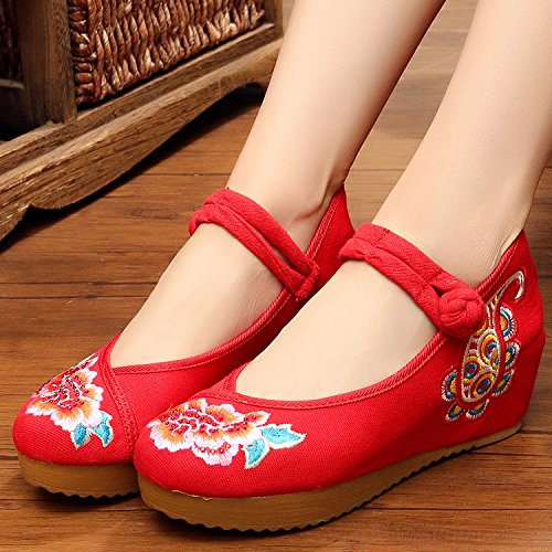 Moda Stile Casual Femminili Del Suola Scarpe Tendine Biancheria Etnico Aumento Red Ming Ricamate Comodo w1xfTq6x