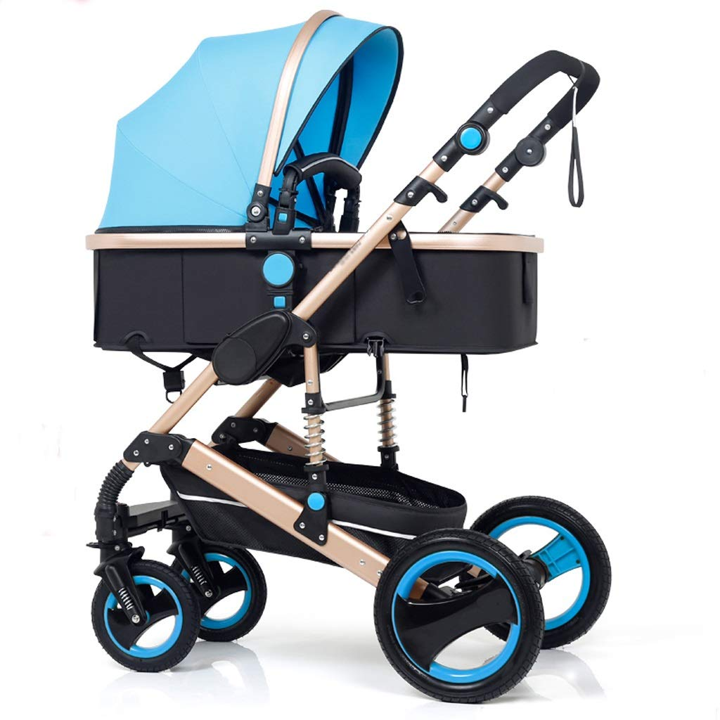 Strollers Baby High Landscape Pram Travel System 3 in 1 Stroller Buggy Two-Way Baby Pushchair Foldable Height-Adjustable Strollers & Buggies (Color : Blue, Size : 34.2524.0142.91inch)