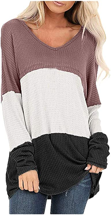 Camiseta Manga Larga Mujer Camisa Basica Blusa con Cuello Redondo Casual Shirt Elegante Lady Tops De TúNica para Empalmes Camisas: Amazon.es: Ropa y accesorios