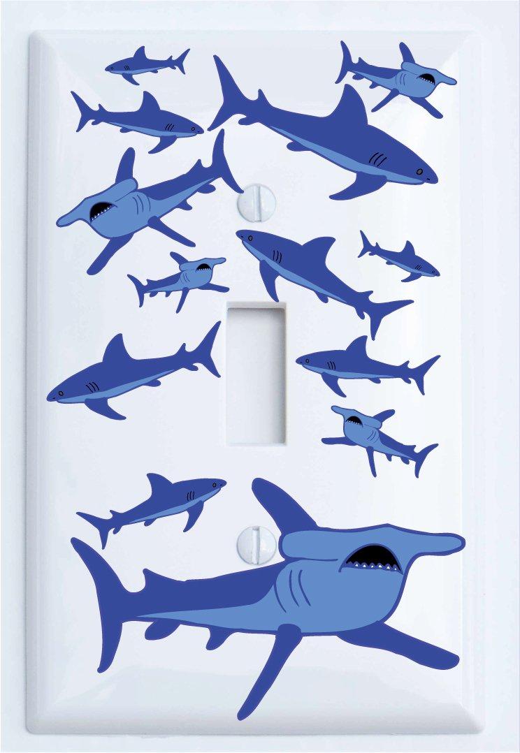 Single Toggle Shark Attack Light Switch Plates Covers/Sharks Childrens Nursery Wall Decor (Single Toggle)