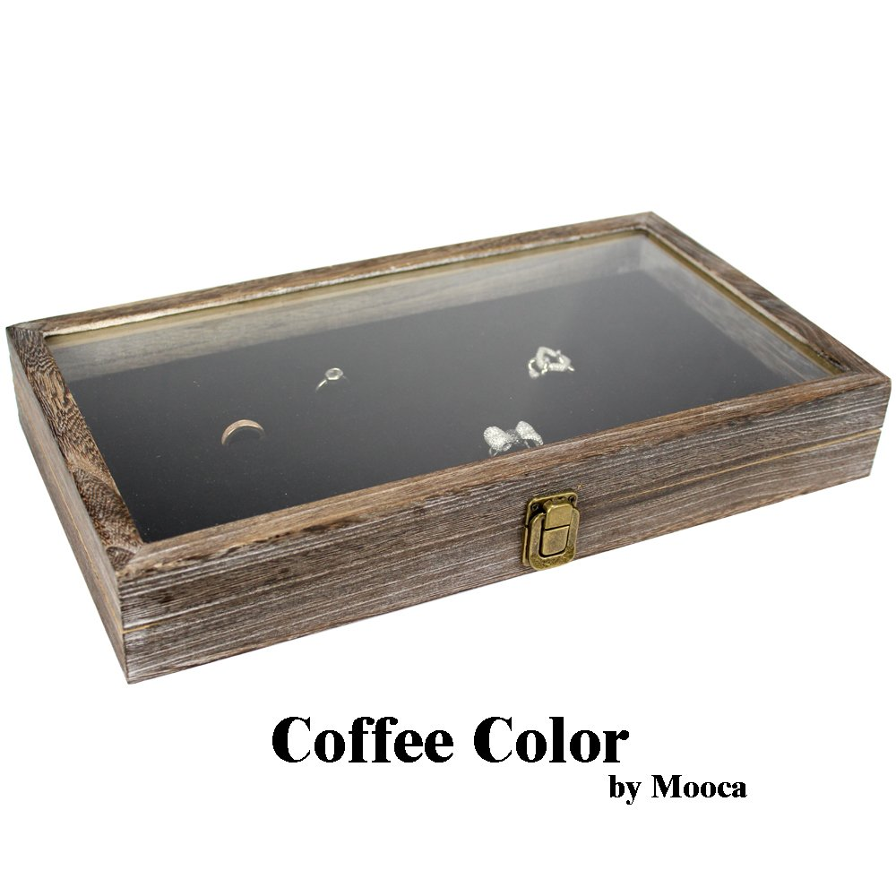 Mooca TEMPERED GLASS Top Wood Jewelry Display Case 72 Slot Compartment Ring Tray, Coffee Color